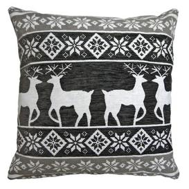 image-43x43cm Stags & Snow Grey Tapestry Cushion Christmas Design