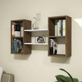 image-Eligah Wall Shelf Ebern Designs Finish: White/Walnut