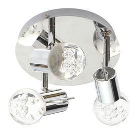 image-Ayston Integrated LED 3 Light Bathroom Ceiling Spotlight Plate - Chrome