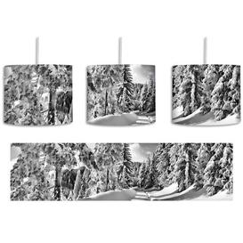 image-Winter Landscape with Trees 1 Light Drum Pendant East Urban Home Shade colour: Black/White