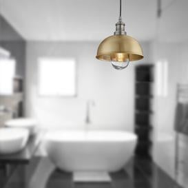 image-Brooklyn 1 Light Outdoor Pendant Industville Shade Finish: Brass, Fixture Finish: Copper