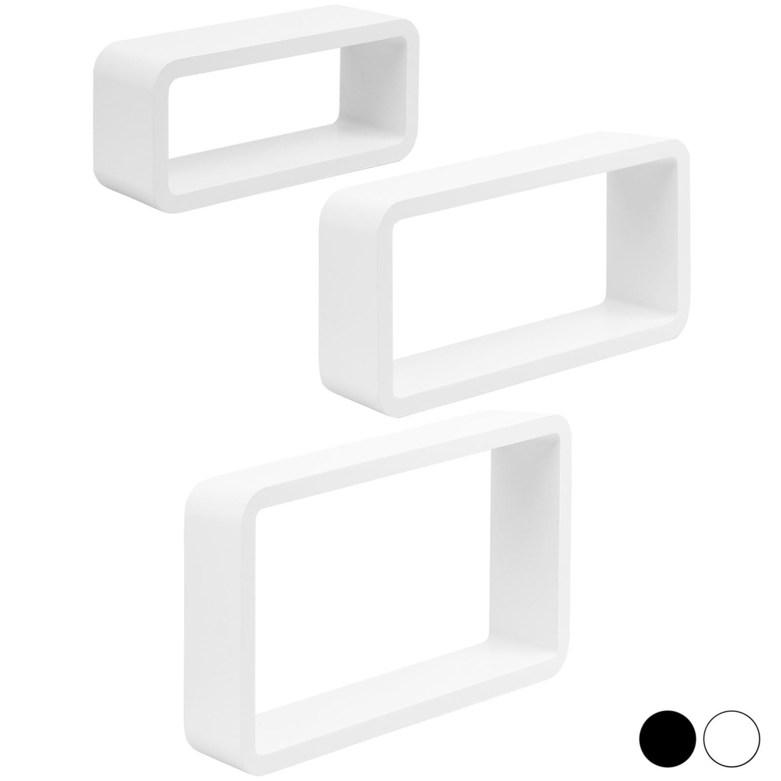 image-Hartleys Set of 3 Cube Floating Shelves - White