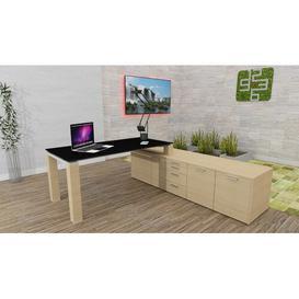 image-Liz L-Shape Executive Desk Ebern Designs Colour: Black Glass