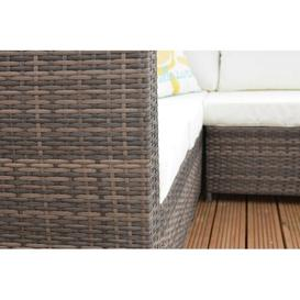 image-Sam 6 Seater Rattan Corner Sofa Set with Cushions Sol 72 Outdoor Colour: Brown