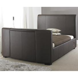 image-Plain Upholstered TV Bed Wade Logan Size: Double (4'6), Finish / Upholstery Colour: Dark Brown