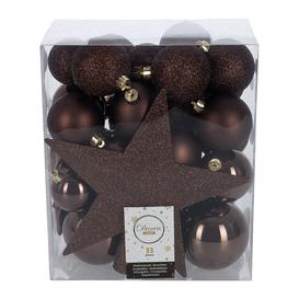 image-A by AMARA Christmas - Set of 33 Assorted Baubles and Tree Topper - Dark Brown
