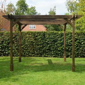 image-Randi Manufactured Wood Pergola Sol 72 Outdoor Finish: Rustic Brown, Size: 270cm H x 420cm W x 420cm D