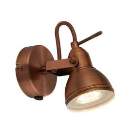 image-Retro/Industrial Antique Brushed Copper Single 1 Way Wall Spot Light - LED Compatible