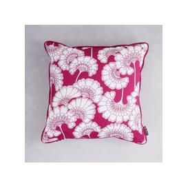 image-Florence Broadhurst Japanese Floral Cotton Cushion (colour: Deep Pink, size: 40x40 cm)