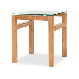 image-Tribe Glass Lamp Table In Clear With Solid White Oak Frame