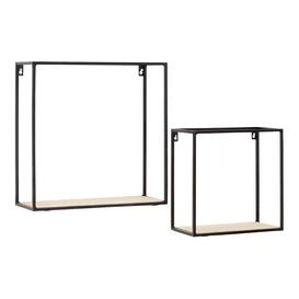 image-Teddy's Collection Birch Cuboid Wall Mounted Square Shelf Set