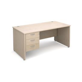 image-Value Line Deluxe Panel End Clerical Desk 3 Drawers, 160wx80dx73h (cm), Maple, Free Standard Delivery