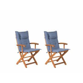 image-Maren Folding Garden Chair with Cushion Sol 72 Outdoor Colour: Blue