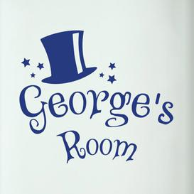 image-Personalised Magic Kids Door Room Wall Sticker Happy Larry Colour: Dark Blue