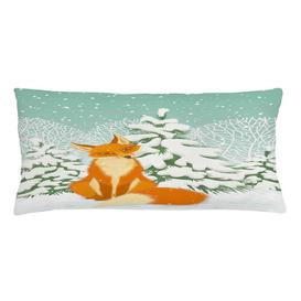 image-Theodor Fox Winter Forest Xmas Outdoor Cushion Cover Ebern Designs Size: 40cm H x 90cm W x 0.5cm D