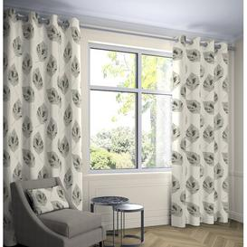 image-Boler Leaf Tailored Eyelet Thermal Curtains Ebern Designs Colour: Soft Grey, Panel Size: Width 116 x Drop 228 cm, Light Filtration/Thermal: Blackout/Y