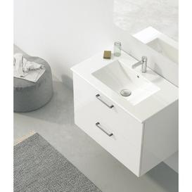 image-Barrister 81mm Wall Hung Single Vanity Unit Ebern Designs Top Finish: White, Vanity Unit Colour: White