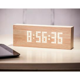 image-Modern Digital Beech Solid Wood Electric Alarm Tabletop Clock Symple Stuff