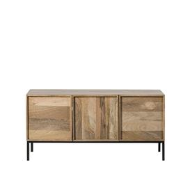 image-Swoon Melvyn Contemporary Small TV Unit in Natural Mango Wood & Black Steel