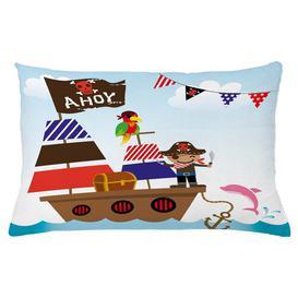 image-Cristiana Ahoy Its a Boy Pirate Ship Ocean Outdoor Cushion Cover Ebern Designs Size: 40cm H x 65cm W