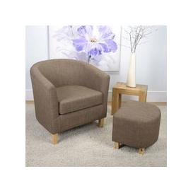 image-Kurnell Chenile Fabric Tub Chair In Cinnamon With Foot Stool