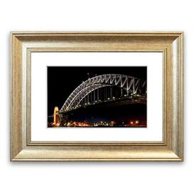 image-'Sydney Harbour Bridge Night Lights Architecture Can' Framed Photograph East Urban Home Size: 93 cm H x 126 cm W, Frame Options: Silver