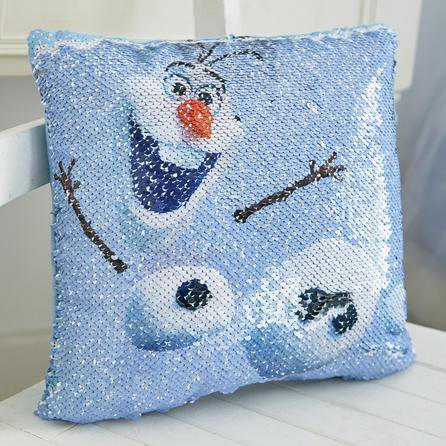 image-Frozen 2 Olaf Sequin Cushion Blue