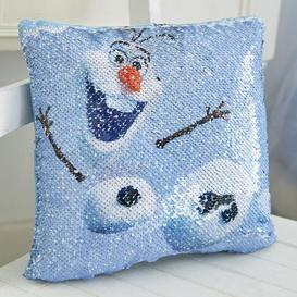 image-Frozen 2 Olaf Sequin Cushion Blue, Black and Orange