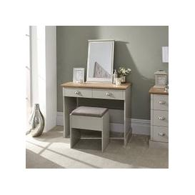 image-Ervin Dressing Table And Stool With Table Mirror In Soft Grey