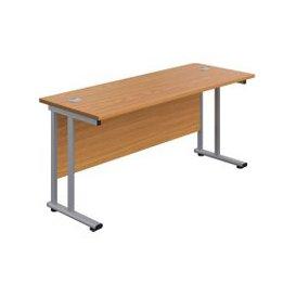 image-Proteus Double C-Leg Rectangular Desk, 120wx80dx73h (cm), Silver/Oak, Free Standard Delivery