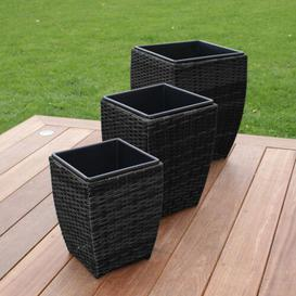 image-Barajas 3 Piece Rattan Planter Box Set Freeport Park Colour: Grey