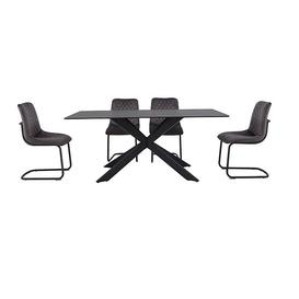 image-Creed Large Table and 4 Chairs Dining Set