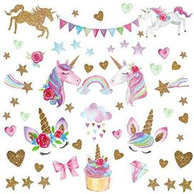 image-Wajade Unicorn Wall Stickers for Girls Bedroom Star & Heart Unicorn Wall Decal Stickers for Kids Removable Wallpaper Decals Art for Children Bedrooms Nursery Christmas Birthday Party Decoration - Open Box