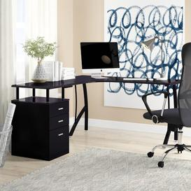 image-San Mateo L-Shape Executive Desk Zipcode Design Colour: Black