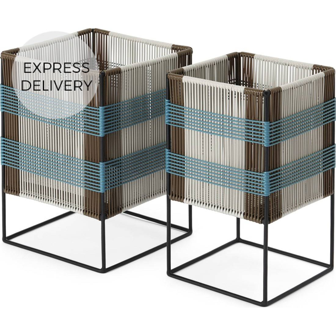 image-Ariba Set Of Two Tiered Woven Square Plant Stands, Multi-