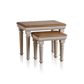 image-Rustic Solid Oak & Painted Nest of Tables - Nest of Tables - Shay Range - Oak Furnitureland