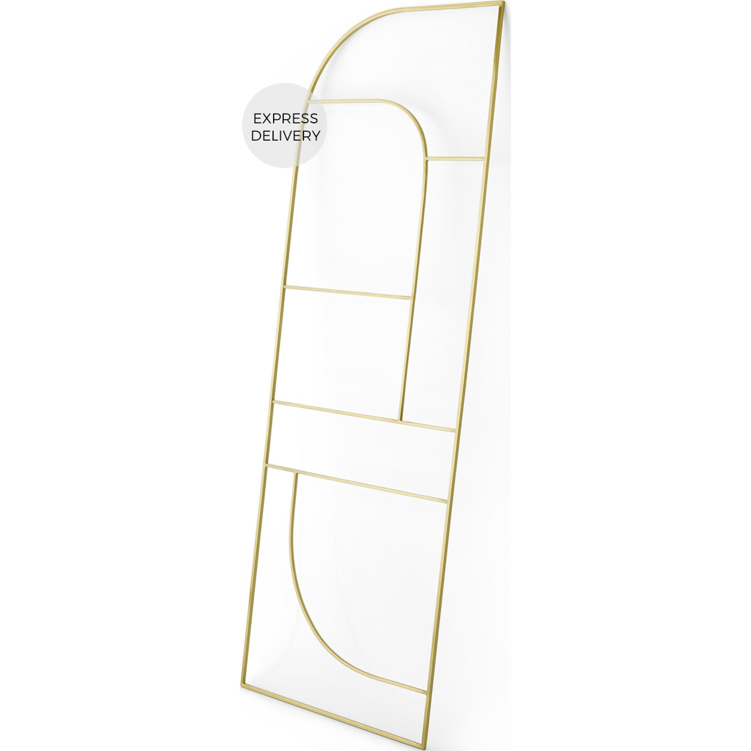 image-Vestar Metal Towel Rack Ladder, Brushed Brass