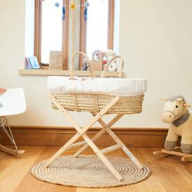 image-Palm Moses Basket with Bedding and Stand Clair De Lune