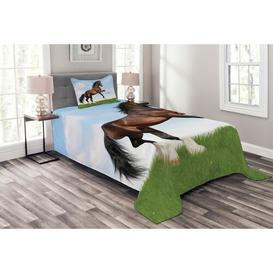 image-Woodbine Horses Bedspread Set with Cushion Cover August Grove Size: W175 x L220cm