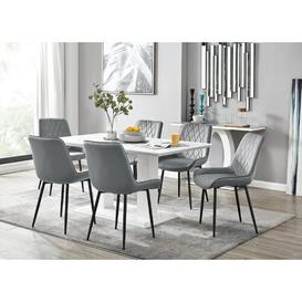 image-Samirah Dining Set with 6 Chairs Metro Lane Colour (Chair): Grey/Black