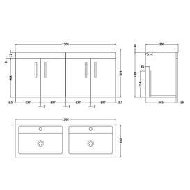 image-1208mm Wall Hung Double Vanity Unit