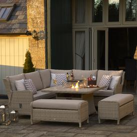 image-2021 Bramblecrest Chedworth Reclining Garden Sofa Set with Square Fire Pit Dining Table - Sandstone