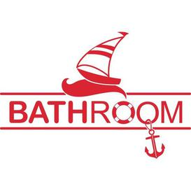 image-Bathroom, Sailboat Wall Sticker East Urban Home Colour: Light red, Size: 30cm H x 45cm W