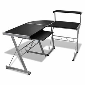 image-Leonetti L-Shape Computer Desk Ebern Designs Colour: Black