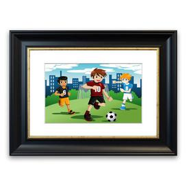 image-'Football Kids' Framed Graphic Art East Urban Home Size: 30 cm H x 40 cm W, Frame Options: Grey