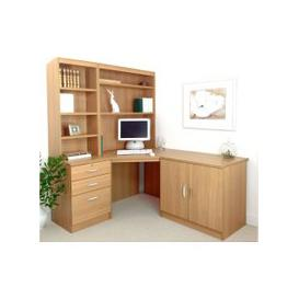 image-Small Office Corner Desk Set With 3 Drawers, Cupboard & Hutch Bookcases (Classic Oak)