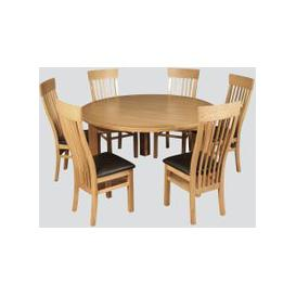 image-Treviso Oak Round Dining Table and 6 Chairs