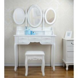 image-Galligan Dressing Table Set with Mirror Fleur De Lis Living