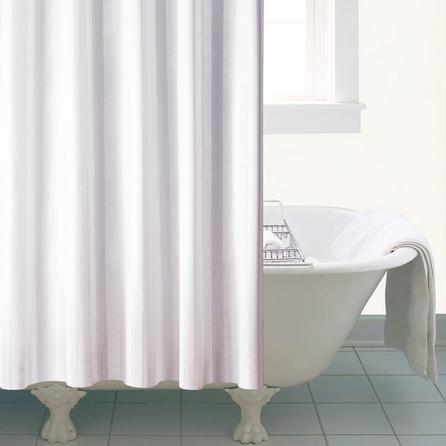 image-White Satin Stripe Shower Curtain White