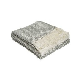image-Recycled Plastic Herringbone Garden Throw, Dove Grey